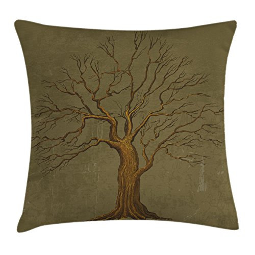 Ambesonne Tree Throw Pillow Cushion Cover, Illustration of A Big Tree on Antique Old Paper Vintage Style Artwork Design Print, Decorative Square Accent Pillow Case, 16 X 16 inches, Olive Green