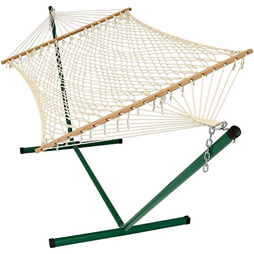 Cotton Rope Double Hammock with Stand and Wood Spreader Bar, 2 Person, 350 lb Weight Capacity by Sunnydaze (Stand Hammocks Alone)