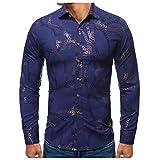 SNOWSONG Mens Dress Shirts Long Sleeve Novelty Printed T-Shirt Casual Slim Fit Tops Blue