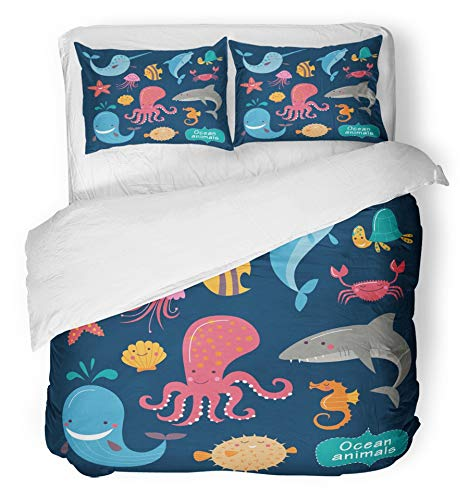 Emvency 3 Piece Duvet Cover Set Brushed Microfiber Fabric Breathable Colorful Cute Ocean Animals on Dark Childish of Whale Fish Dolphin Turtle Shark Bedding Set with 2 Pillow Covers Twin Size ()