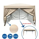 PeakTop 10 Feet x10 Feet EZ Pop Up Canopy Multifunctional tent Camping tent/Party tent/Commercial tent gazebo 4 Walls With Carry Bag 100% Waterproof-9 Colors (beige)