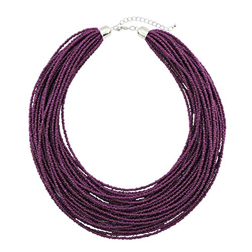 Bocar Multi Layer Chunky Bib Statement Seed Beads Cluster Collar Necklace for Women Gift (NK-10351-magenta Purple)