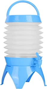 2 Gallon (7.5L) Plastic Folding Beverage Dispenser With Spigot Water Storage Containers With Stand Beer Buckets for Parties(Blue)