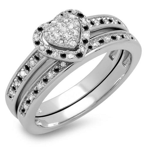 Dazzlingrock Collection 0.23 Carat (ctw) Sterling Silver Black & White Diamond Heart Shape Engagement Ring Set 1/4 CT, Size 9 ()