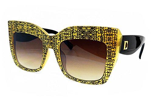 O2 Eyewear SA157 Premium Oversize XXL Women Cateye Brand Designer Square Style Thick Frame Shades Tilda Shadow Fashion Clear Sunglasses (SNAKE GOLD, 57) (Celine Fashion House)