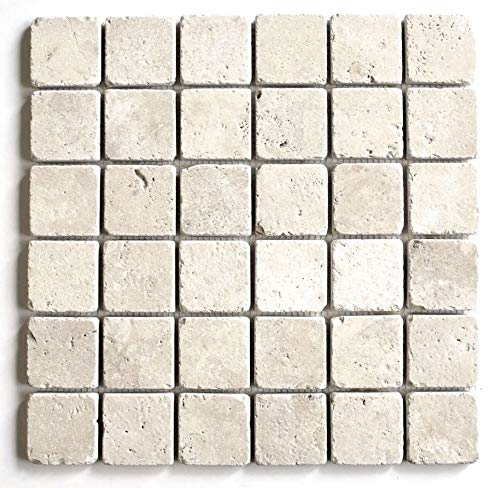 2x2 Light Ivory Tumbled Travertine Mosaic Tile Backsplash Wall ()