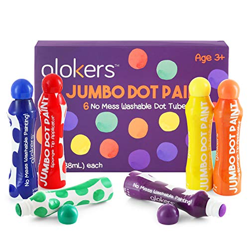 (Glokers Jumbo Washable Dot Paint Markers for Kids (6 Colors) | Washable, No Mess Preschool Daub Tubes | Children Easy-Grip Art Dobber Dabbers | Great for Bingo Stamps and)