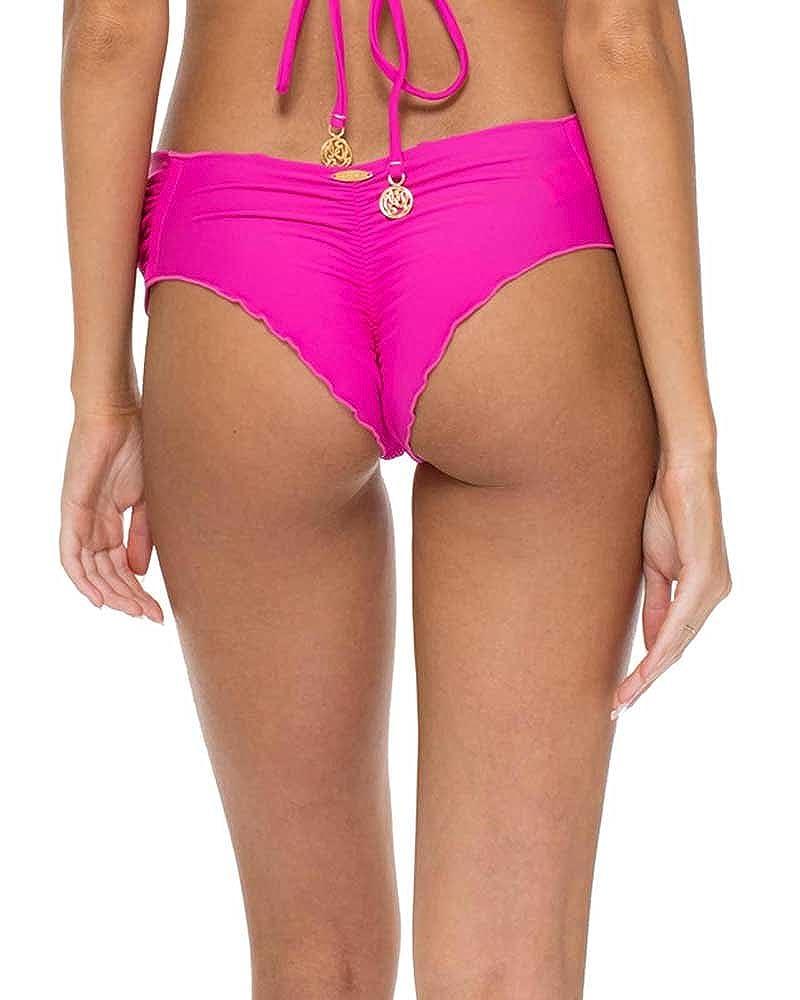 c172822397b Amazon.com: Luli Fama Fuchsia EL Carnaval Scrunch Brazilian Ruched Back  Bottom, S: Clothing