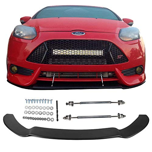Front Splitter Lip Fits 2013-2014 Ford Focus ST   Matte Black PP Replacement Bodykit Air Dam Chin Bumper Spoiler Lip With Hardwares By IKON MOTORSPORTS ()