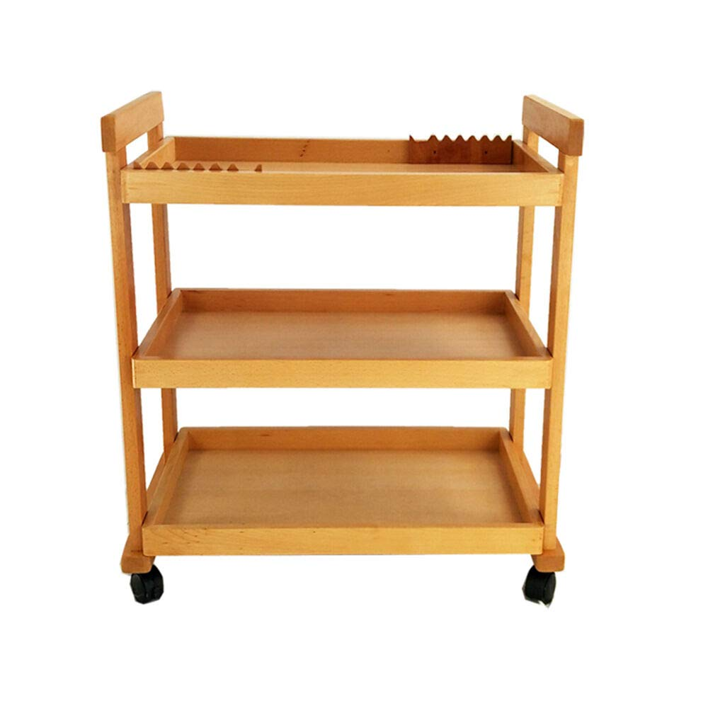 3-Tier Cart Removable Trolley Art Drawing Tool Car Carry Various Painting Tools Wood Beech w/Wheels Storage