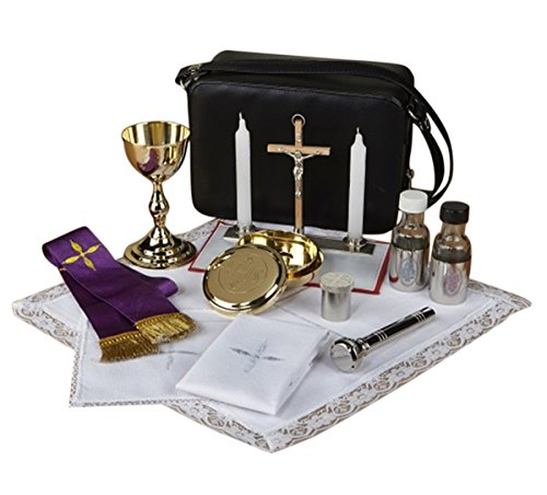 Deluxe Catholic Travel Mass Kit with Sprinkler in Zippered Vinyl Case, 8 1/2 Inch by Mass Kits by Sudbury Brass