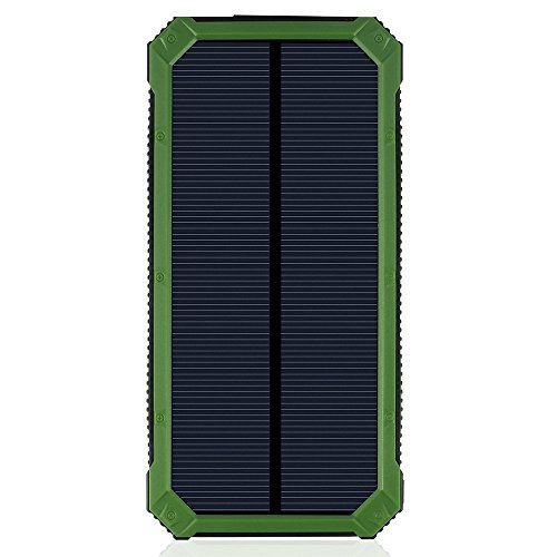 LANIAKEA 15000mAh Solar Charger, Waterproof Solar Power Bank Battery Pack, Dual USB Solar Panel Charger for iPhone, Samsung Galaxy, Smart phones and Other USB Devices,Green by LANIAKEA