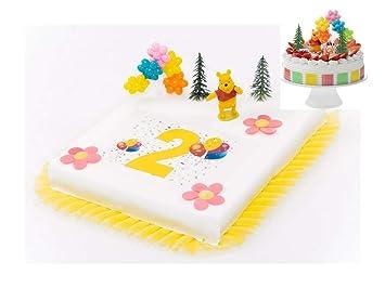 Tortendeko 2 Geburtstag Winnie Pooh 8 Teilig Tortenaufleger Kuchen