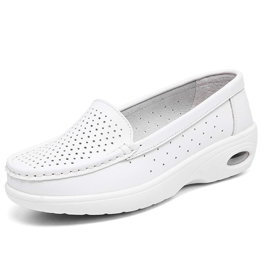 ZYEN Women's Summer Nurse Shoes Breathable Slip On Hollow All White Leather Nursing Medical Work Loafers White Hollow 6 B(M) US 776baise36