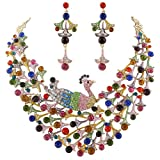 Peacock Statement Necklace Earrings Set Austrian Crystal Gold-Tone