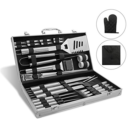 4 Apron Piece Set (Monbix BBQ Grill Accessories Barbecue Tools 33 Piece Heavy Duty Stainless Steel Utensils with Aluminum Storage Case Waterproof Apron Glove)