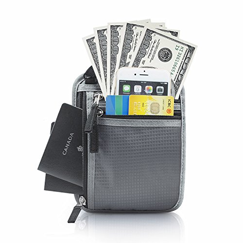 RFID Blocking Waterproof Travel Pouch WILLWELL SPORT Neck Wallet Hidden Anti-theft Festival Passport Holder Flat Neck Pouch -Black