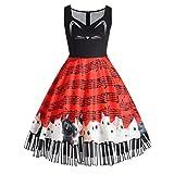 Tenworld Women's Cute Dress, Cat Print Sleeveless Vintage Rockabilly Swing Dress
