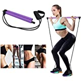 Gomi Portable Pilates Bar Kit with Resistance Band Yoga Pilates Stick, Exercise Toning Bar with Foot Loop, Sit-Up Bar for Yoga, Fitness, Stretch, Sculpt,Twist