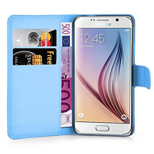 Cadorabo - Funda Samsung Galaxy S6 (SM-G920F NO para EDGE) Book Style de Cuero Sintético en Diseño Libro - Etui Case Cover Carcasa Caja Protección (con función de suporte y tarjetero) en BLANCO-ÁRTICO AZUL-PASTEL