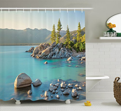 Lake House Decor Shower Curtain Set by Ambesonne, Pastoral Spring Time Scenery in Provincial Countryside Lake Beach Shallow Water Theme, Bathroom Accessories, 84 Inches Extralong, Blue - Provincial Spring