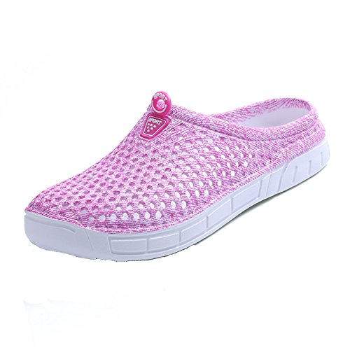 BODON Womens Summer Breathable Mesh Slippers Lightweight Mesh Clog Quick Drying Garden Shoes Footwear Anti-Slip Shoes Pink 40