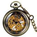 JewelryWe Mens Vintage Mechanical Pocket Watch - Analog Skeleton Hand Wind Mechanical Watch with Roman Numbers Open Face
