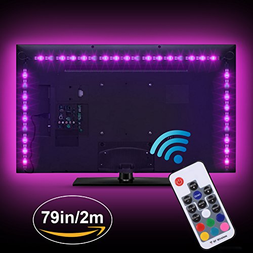 Boomile LED TV Backlight, USB LED Strip Lights 6.56ft 2M 5050 RGB Light Strips Kit Bias Lighting with Remote Control for HDTV, Flat Screen TV Accessories Desktop Monitors PC, Multi Color by Boomile