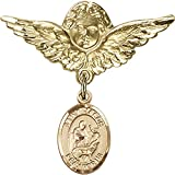 Gold Filled Baby Badge with St. Jason Charm and Angel w/Wings Badge Pin 1 1/8 X 1 1/8 inches