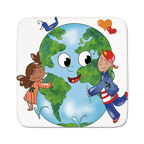 - Cozy Seat Protector Pads Cushion Area Rug,Earth,Two Cute Kids Hugging Happy Planet Earth Bird and Hearts Embracing in Cartoon Style Decorative,Multicolor,Easy to Use on Any Surface