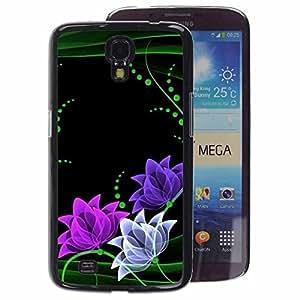 A-type Arte & diseño plástico duro Fundas Cover Cubre Hard Case Cover para Samsung Galaxy Mega 6.3 (Floral Flowers Minimalist Green Pink)