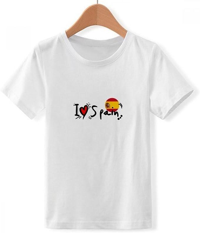 DIYthinker Me Encanta españa Bandera Palabra corazón Amor del Ejemplo del Cuello de Equipo de la Camiseta para Chico: Amazon.es: Ropa y accesorios