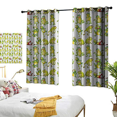 (Bedroom Curtains W55 x L45 Nursery,Frogs in Different Positions Funny Happy Cute Expressions Faces Toads Cartoon, Green Yellow Red Blackout Window Curtains Living Room Dining Room Kids Youth Room)