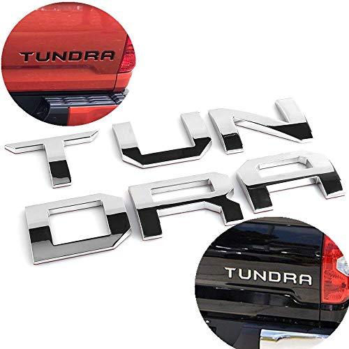 ARITA Toyota Tundra 2014-2019 Tailgate Insert Letters - 3M Adhesive & 3D Raised Tailgate Zinc Alloy Emblem - Chrome Silver