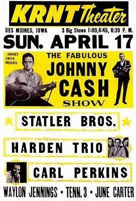 Amazon.com: Johnny Cash - Carl Perkins - 1960 - KRNT Theater - Des Moines - Concert Poster: Posters & Prints