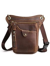 J.Market Cowhide Leather Mens Waist Pack Messenger Riding Hip Bum Pack Drop Leg Cross Over Bag (Brown)