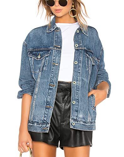Tsher Women's Boyfriend Denim Jacket Long Sleeve Loose Jean Jacket Coats D003 (XL, Blue)