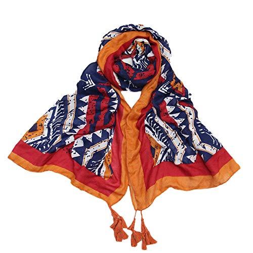 Women's Tassels Scarfs Lightweight Clearance - Iuhan Women Print Casual Scarf Long Shawl Gauze Holiday Silk Towel Beach Towel Scarf (Red)