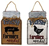 "best french country outdoor kitchen DI Inc Set of Wood Metal Jute Mason Jar Shape Fresh Farmers Market Sign Plaque Wall Hanging Farmhouse Country Kitchen Decor 12"" x 7.2"" (Pig and Chicken)"