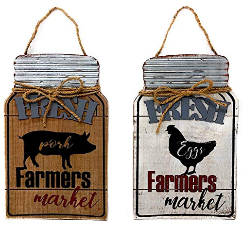 "DI Inc Set of Wood Metal Jute Mason Jar Shape Fresh Farmers Market Sign Plaque Wall Hanging Farmhouse Country Kitchen Decor 12"" x 7.2"" (Pig and Chicken)"