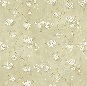 Chesapeake PUR44103 Braham Green Country Floral Scroll Wallpaper