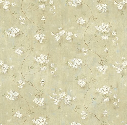 Chesapeake PUR44103 Braham Green Country Floral Scroll Wallpaper - Green Scroll Wallpaper