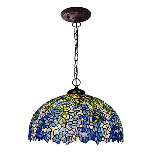 - NSST Tiffany Style Pendant Light European Style Wisteria Flower Glass Restaurant Chandeliers Bedroom Ceiling Light Room Ceiling Pendant Dining Kitchen 16 inch Hanging Lamps