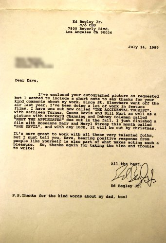Ed Begley Jr Signed Typed Letter - Content Thanking Fan - Dated 07/14/1989 - Best Known For St. Elsewhere / Accidental Tourist / This is Spinal Tap - - Typed Signed