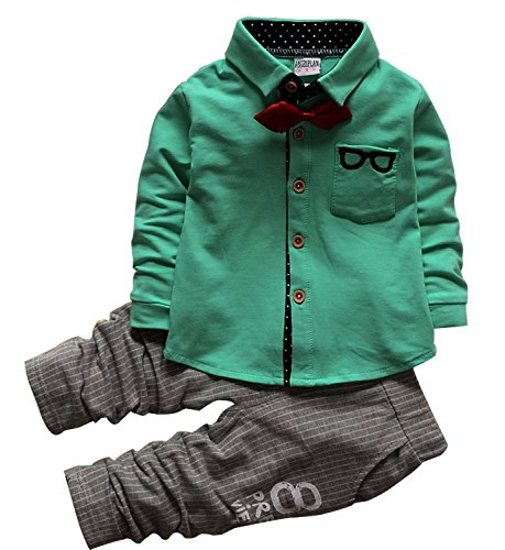 FAYALE Baby Boys Clothing Sets Tops + Pants 2PCs Gentleman Outfit (100/18-24Months, (Kids Holiday Clothes)