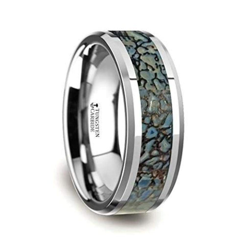Thorsten Devonian by Blue Dinosaur Bone Inlay on Tungsten Carbide Band Beveled Edged Ring 8mm from Roy Rose Jewelry by Thorsten