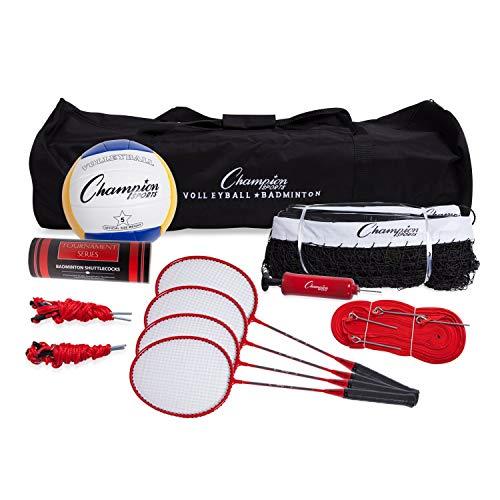 Champion Sports Volleyball & Badminton Set: Net, Poles, Ball, Rackets & Shuttlecocks - Portable Equipment for Outdoor, Lawn, Beach & Tournament Games (Renewed)