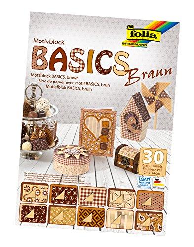 Folia 46649 - Motivblock Basics, 24 x 34 cm, 30 Blatt sortiert, braun