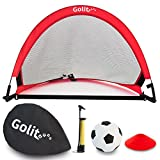 GOLIT Pop Up Soccer Goals-Set Of Two Portable Soccer Nets With, Ball, Pump, Cones and Carry Bag , Red Frame With Black Net, 2.5 ft. For Sale