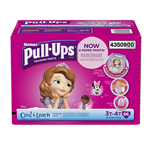 Huggies Pull-Ups Training Pants with Cool and Learn for Girls, Size 3T-4T, 66 Count (Easy Trainers Ups)